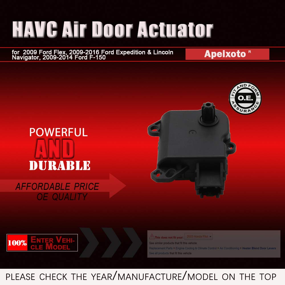 Heater Blend Door Actuator Fits Ford Expedition, Lincoln Navigator  2010-2017, Ford F-150 2009-2014 Air Door Motor Replace #DL3Z19E616A YH1933  604-252