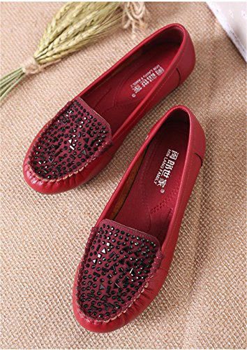 5 Bottom Work 5 Pelle Stoffa Genuino Molle Delle Di Donne Festa Nvxie Comfort Pattini 37 Spring uk eur40uk7 Loafer Cuoio Eur 4 Antiscivolo Red Fall Singoli Black New Zw4HxS