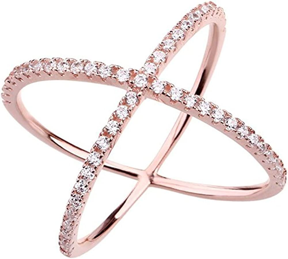 Women Gold Plated Rings Shining Drop Heart Cross Crystal Band Rings Finger Rings