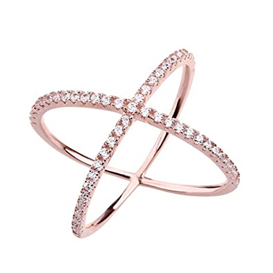 Amazon Womens Criss Cross Ring X Ring Micropave CZ Inlay 14K