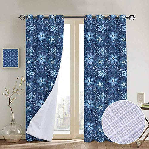 Blackout Curtains Romantic,Polka Dotted Background with Floral Composition Curves and Swirls Abstract, Dark Blue White,Thermal Insulated Panels Home Décor Window Draperies for Bedroom a84