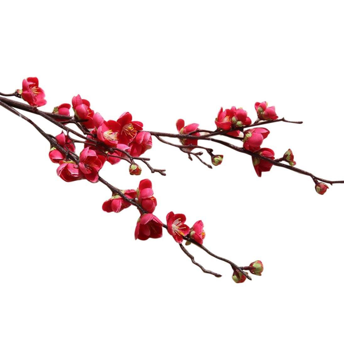 Fleurs artificielles, Mamum Fleurs Fleur Floral Cerisier Printemps Plumes Fleur Branche Simulation Soie Faux Mariage Bouquet FêTe DéCoration Art Romantique (rouge) Mamum-18062908
