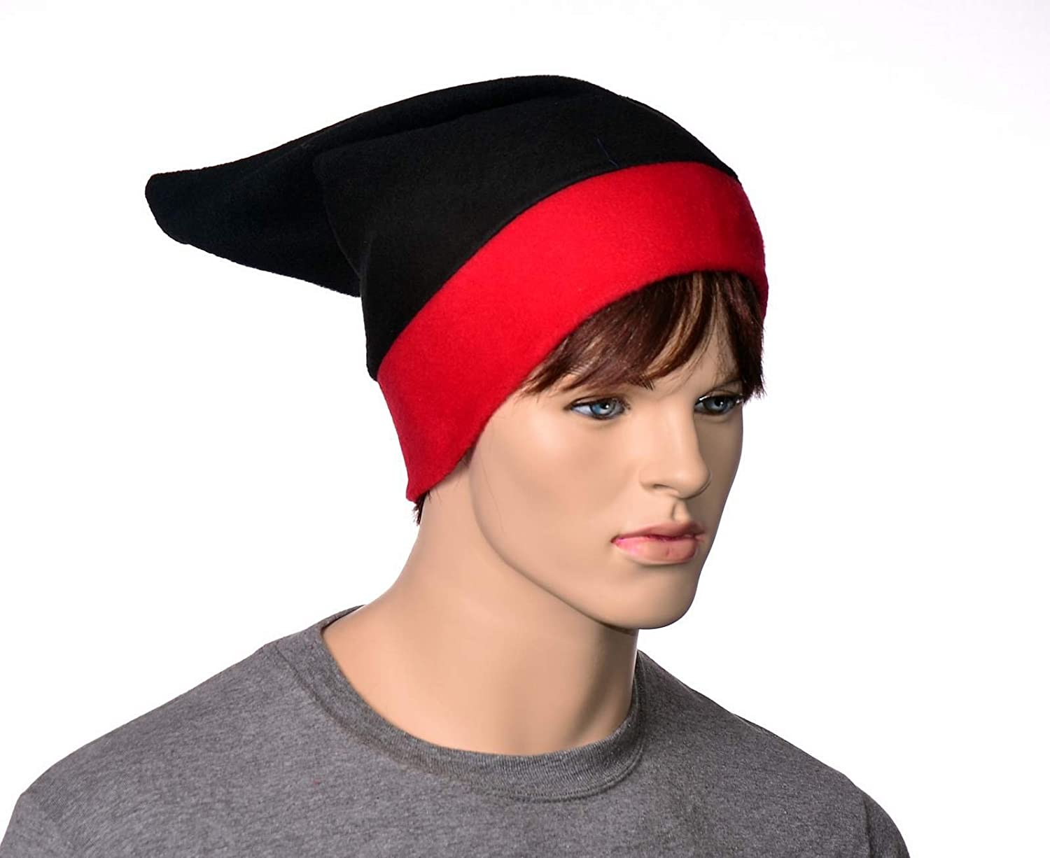 Elf Hat in Gothic Red and Black Pointed Fleece Beanie