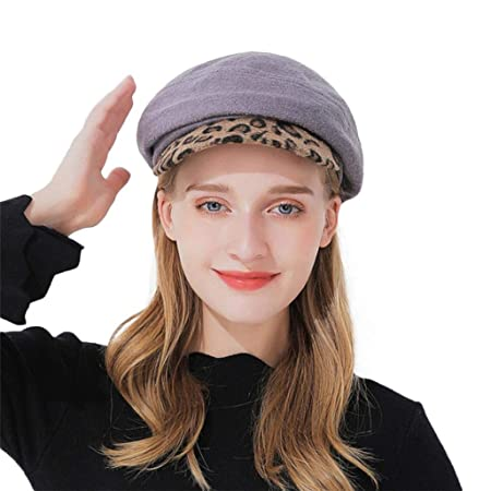 SUKEQ Fashion Women Winter Warm Newsboy Hat Knit Wool Beret Hat Snow Ski  Beanie Caps Leopard Visor Ladies Teen Girls (Gray)  Amazon.co.uk  Kitchen    Home 0f523b58c917