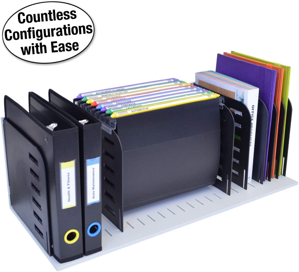 Ultimate Office Desktop Organizer File Sorter Letter Trays and a Hanging File Rack All in One for Fast and Easy Access to All of Your Forms Notebooks Binders Books and Files, Gray w/Black Dividers