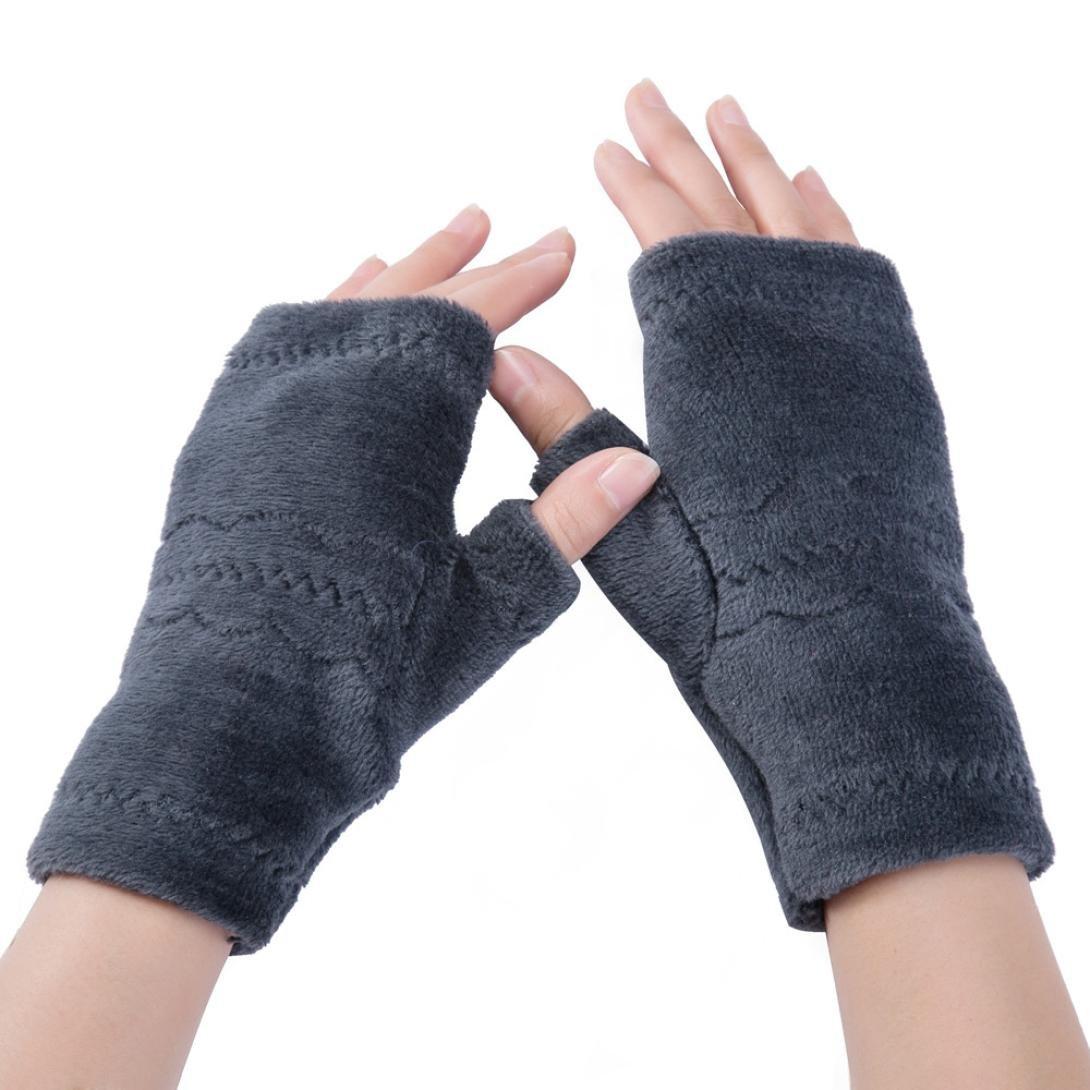 Half Finger Fingerless Gloves Women Winter Wrist Arm Hand Warmer Plush Gloves (Gray) BESSKY171106T5