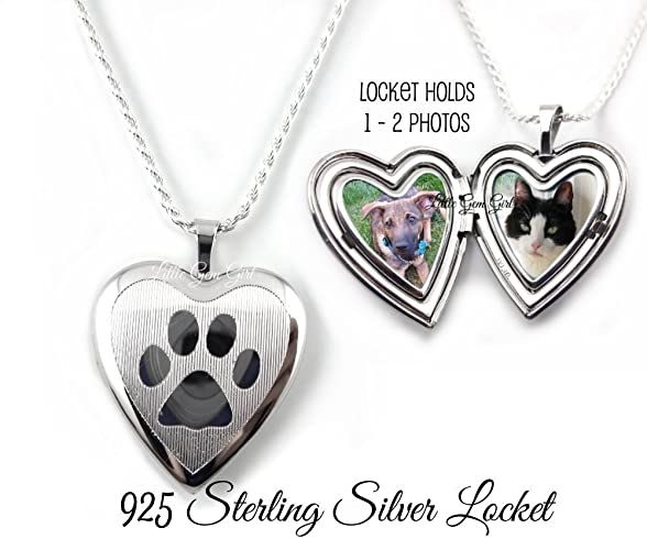 silver pet locket jewelry memorial lockets paw heart photo print sterling