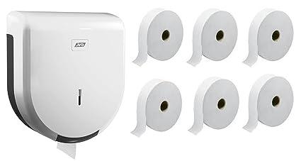 Papel higiénico Jumbo 6 bobinas écolabel 2 pliegues + dispensador ABS blanco