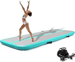 Syellowafter 20/19/13/10ft Gymnastics Tumbling Air Mat, Air Barrel Roller Inflatable Tumbling Mat 4/8 inch Thickness Gym Training Mat for Aerobics/Cheerleading/Yoga with Pump