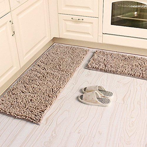 (Ustide Soft Shag Chenille Rug Camel Kitchen Rug Set Washable Bathroom Mats Non-Slip Absorbent Floor Rugs)
