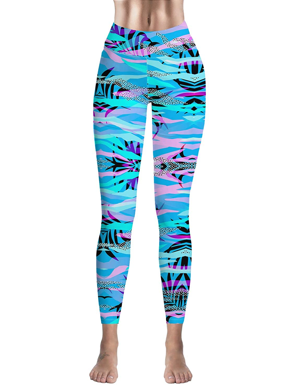 High Waist Yoga Capri Workout Pants Tummy Control Stretch Compression Running Leggings Coconut Leaf Animal Leopard Print