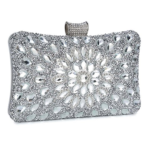 Clocolor Evening Bags and Clutches for Women Crystal Clutch Beaded Rhinestone Purse Wedding Party Handbag(Silver) (Designer Evening Clutch Bag)