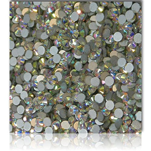 """100% Custom Made (Assorted) 1200 Bulk Pieces of Mini Size """"Glue-On"""" Flatback Embellishments for Decorating, Made of Acrylic Resin w/ Shiny Iridescent Crafting Rhinestone Crystal Aurora Style {Clear} by mySimple Products"""