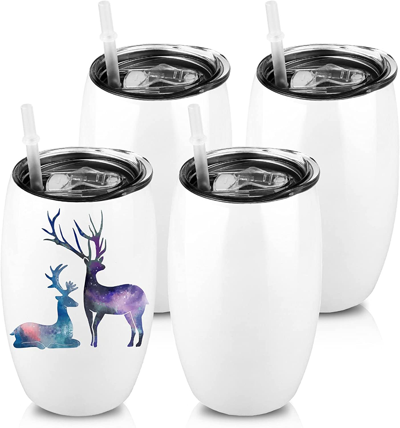 XccMe Max 40% OFF 20oz Sublimation Wine Sale item Tumbler Glass Blanks Lids with 4 Pac