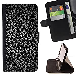 DEVIL CASE - FOR Samsung Galaxy Note 4 IV - Flowers Grey Wallpaper Black Garden - Style PU Leather Case Wallet Flip Stand Flap Closure Cover