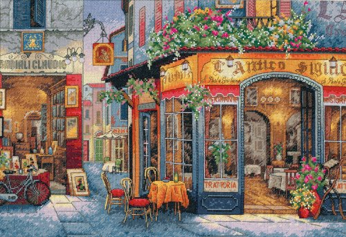 Dimensions Gold Collection Counted Cross Stitch Kit, European Bistro, 16 Count Dove Grey Aida, 11'' x 16''