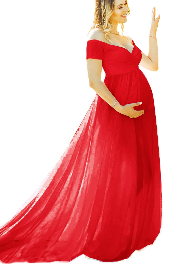 Saslax Maternity Off Shoulder Short Sleeves Gown Maxi Bridesmaid Dress for Photos Shoot Red S