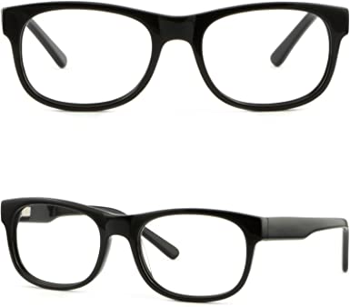 Square Womens Mens Plastic Frame Flexible Spring Hinges Glasses Shiny Black