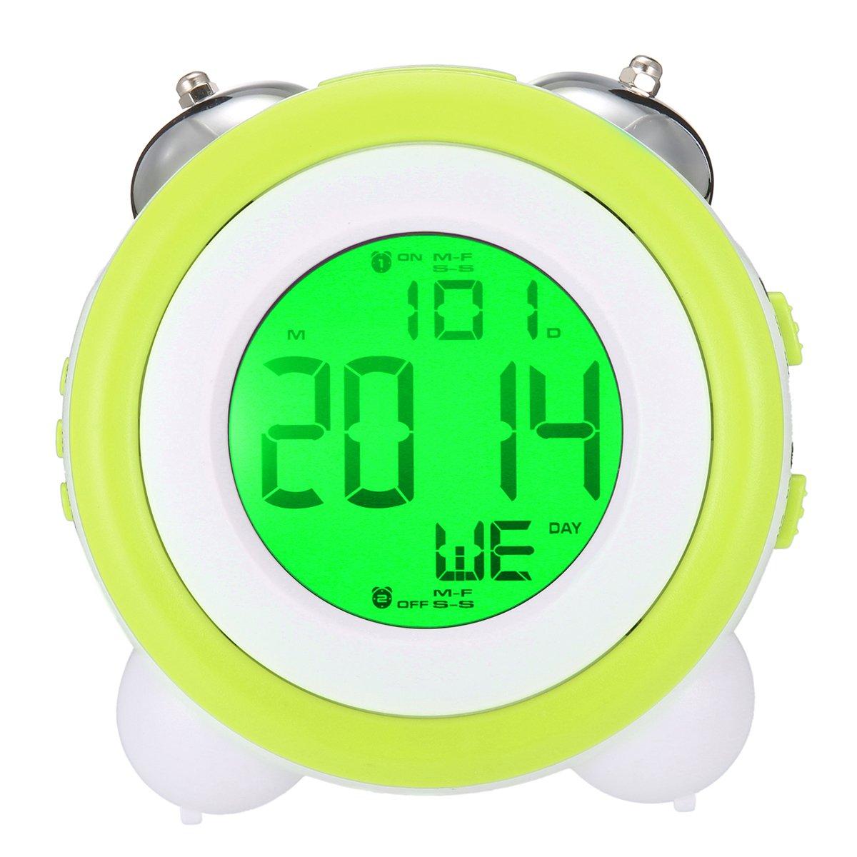 Jeteven LED Digitale ruhig Doppelglockenwecker,lauter Alarm,geräuschlos,großes Zifferblatt von 4 Zoll, 3*AA Batterien (Batterien nicht im Lieferumfang) Grün