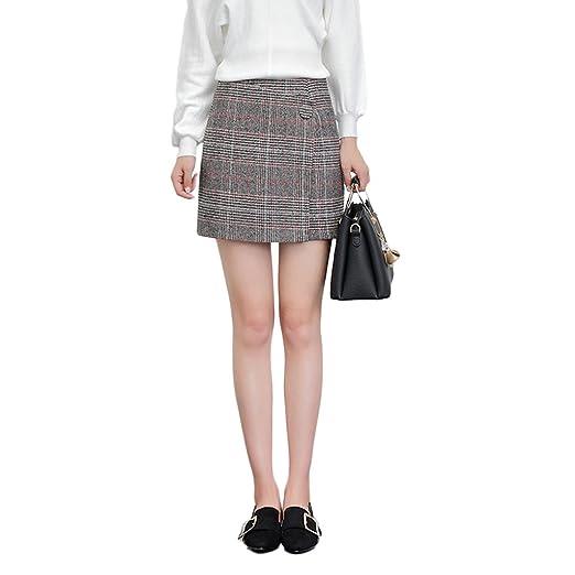 LINSYT Falda recta de cintura alta elegante de la tela escocesa de ...