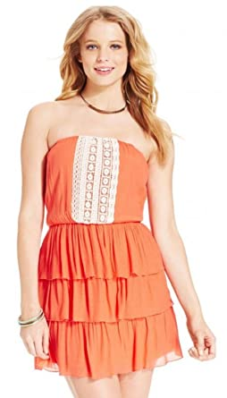 edd1564b16de Trixxi Womens/Juniors Embroidered Tiered Strapless Mini Blouson Coral Dress  (Small)