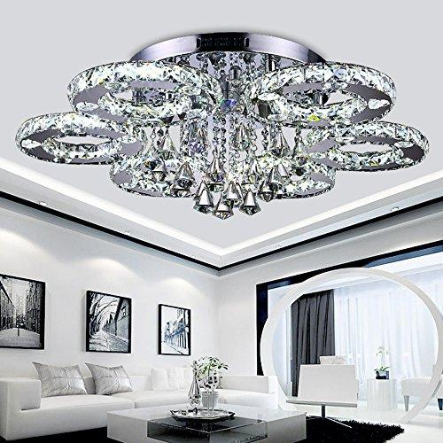 HengdaR Luxus Design Kristall Deckenleuchte Farbwechselfunktion 88W 6 Ringe Pendelleuchte 80cm LED Hngeleuchte Fr Wohnzimmer Esszimmer Amazonde