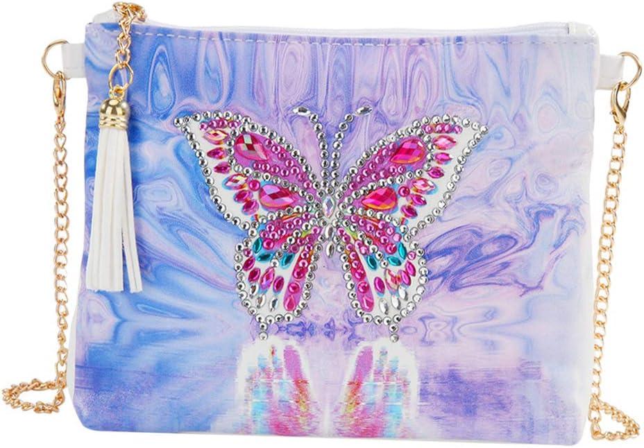 P Prettyia Bolso de Hombro Estuche de Cosméticos Pintura de Diamantes Mosaicos 5D con Borlas Vintage para Mujer - Patrón 4