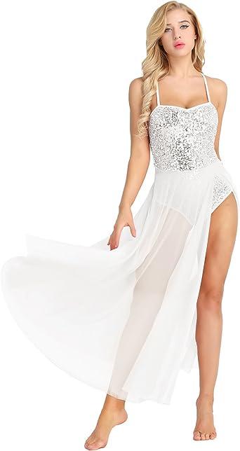 iiniim Femme Tulle Longue Robe de Danse Classique Flamenco