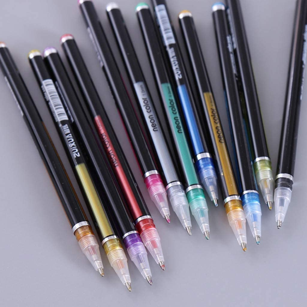 48 Colors Color Glitter Gel Pen Set,Starwak Colored Fine Tip Markers for Adult Coloring Book Doodling Crafting Scrapbooking DIY Greeting Cards Drawing Painting Art Project,Great Back to School Gift