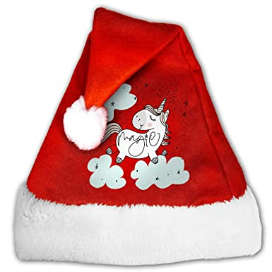 a705f2e572b47 Amazon.com  Magic Cute Unicorn Fashion Unisex Christmas Hat Santa Hats   Clothing