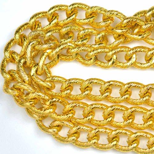(Chainologie Aluminum Chain #142: Gold Pearl 9.25x12.5mm Twist Oval Curb Aluminum Bulk Jewelry Chain (Per 25 Foot Hank))