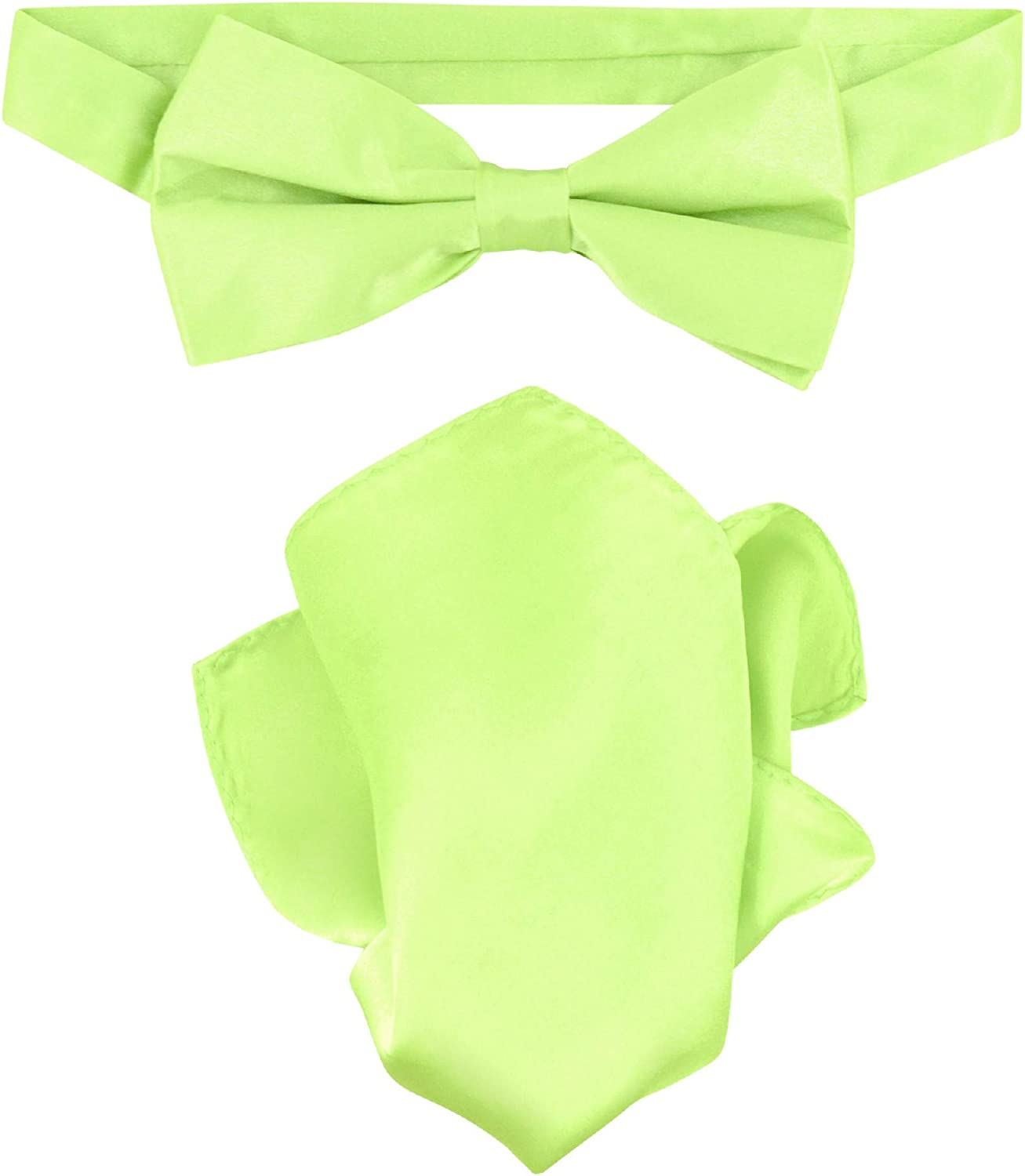 for Formal Occasions New Men/'s Solid Lime Green Self-Tie Bowtie and Handkerchief