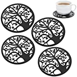 Set of 4 Black Metal Circle Tree Silhouette Design Decorative Tabletop Mug, Cup, Drink Coasters