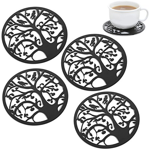Circle Silhouette Decorative Tabletop Coasters