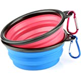 H&S® 2 Collapsible Travel Dog Water Bowl Portable Cat Pet Silicone Food Bowl Small
