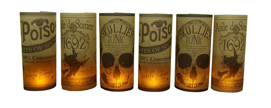 Zeckos Synthetic Candle Holder Sets Bethany Lowe Spooky Vintage Apothecary Label 6 Pc. Luminary Set 5 X 11 X 5 Inches Tan
