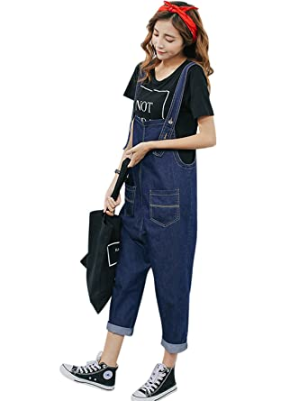 e5acf6d06be Yeokou Women s Casual Loose Cropped Denim Jumpsuit Rompers Overalls Harem  Pants (X-Small