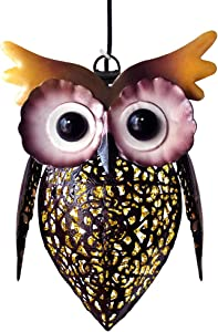 Petrala Solar Lantern Lights Hanging Outdoor Vintage Cute Owl Metal Lanterns 7 lumens Brown for Garden Patio Porch Christmas Decoration Mother Father Gifts