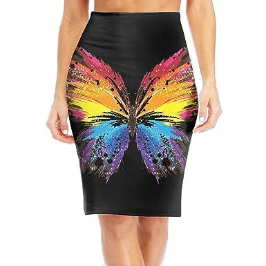 67cbf1d72b71 Amazon.com  DQSSX SK Paint Splatter Butterfly Lady High Waist Band Bodycon  Career Office Midi Pencil Skirt  Clothing