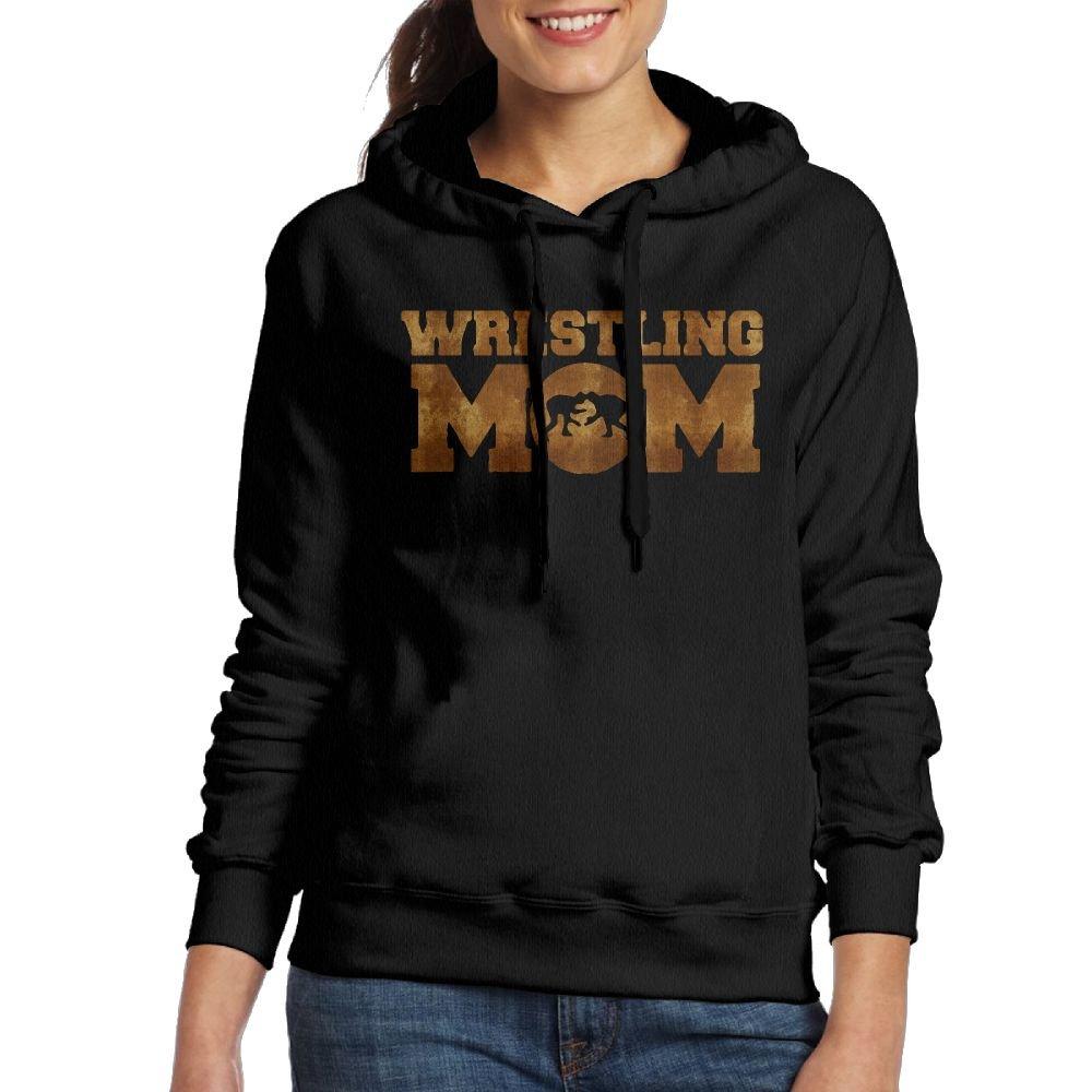 Wrestling Mom Women Long Sleeve Drawstring Sweatshirt Pullover Hoodie Sweatshirts