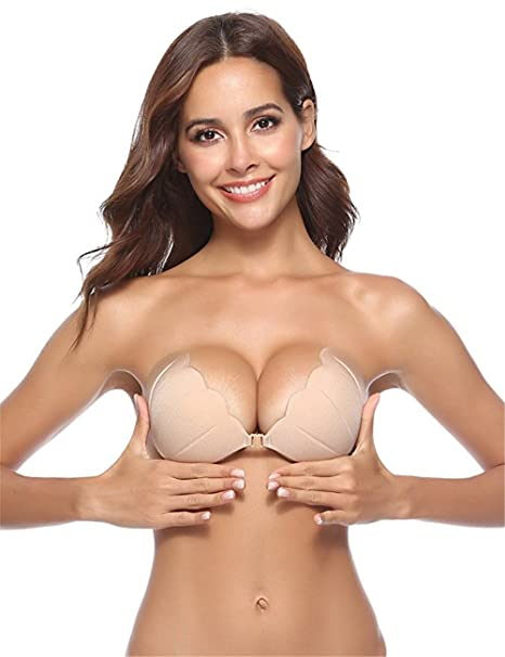 1716a56116 Yoli Women Adhesive Bras Invisible Bra Silicone Gel Bra Reusable Strapless  Shell Shape Push-up Bras  Amazon.co.uk  Clothing