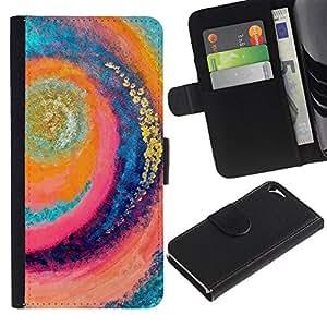 For Apple iPhone 5 / iPhone 5S,S-type® Surf Wave Summer Vortex Teal Pink - Dibujo PU billetera de cuero Funda Case Caso de la piel de la bolsa protectora