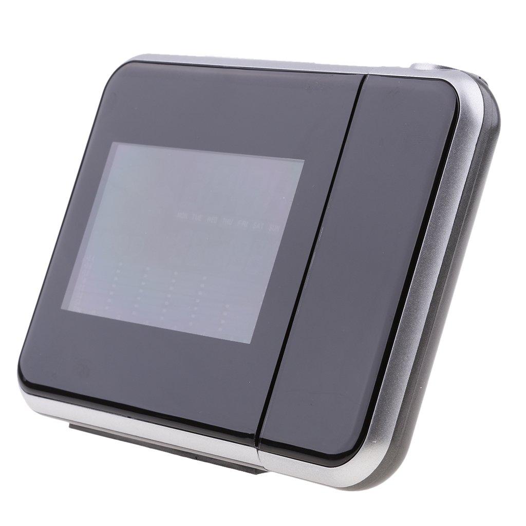 IPOTCH 3, 7 Pollici LCD Schermo Digitale Orologio da Tavolo Sveglia con Igrometro Temperatura per Scrivania Tavolo Mensola