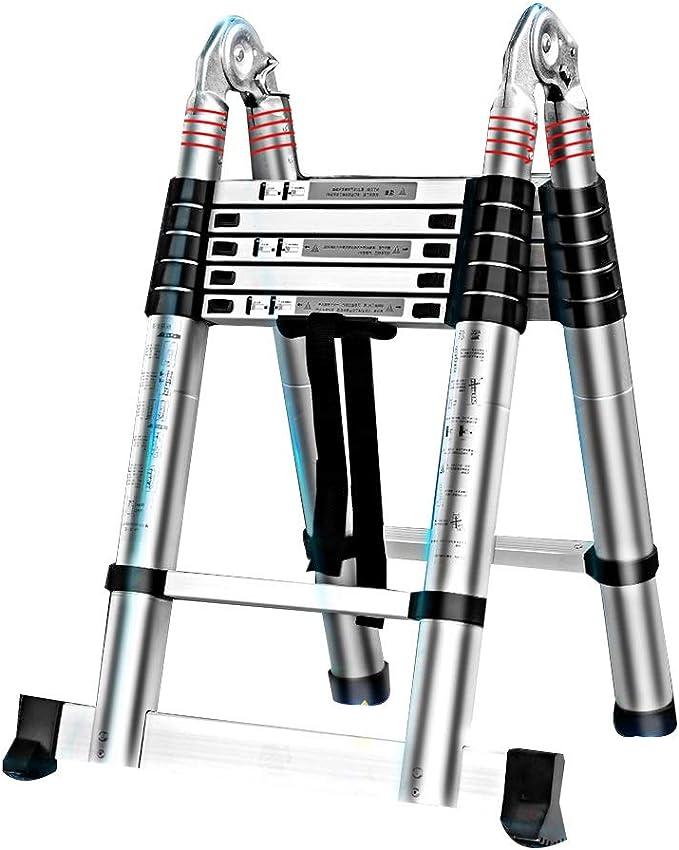 Escaleras telescópicas Escalera telescópica de aluminio portátil Diseño de juntas grandes Escaleras extensibles multiusos for trabajos al aire libre Renovación interior Capacidad de cojinetes: 330 lb: Amazon.es: Hogar