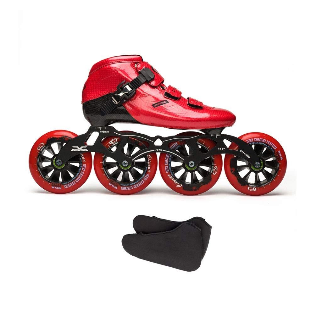 Ailj インラインスケート カーボンファイバースケート 子供用大人用単列スケート靴 4X110MMホイール いつでも送料無料 3色 色 : C サイズ 高級品 さいず EU 34 UK 9 B07QFP1HPB US 2 26.5cm 3 10 43 JP 22cm A