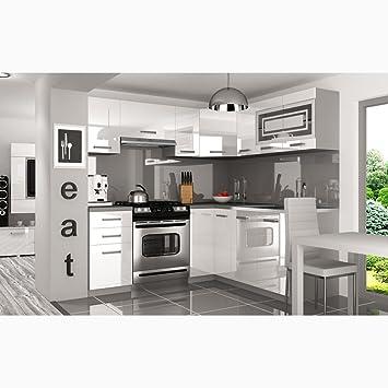 Justyou lidja l pro l küche küchenzeile küchenblock 190x170 cm farbe weiß hochglanz