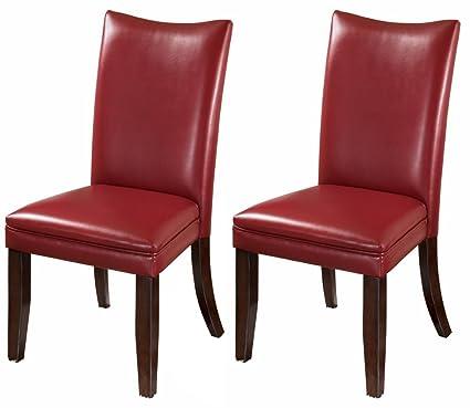 Juego de 2 rojo lateral sillas de comedor tapizado de muebles Ashley ...