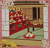 Furoshiki Cat and Hina Matsuri Girl's Day Dolls Motif Japanese Fabric 50cm