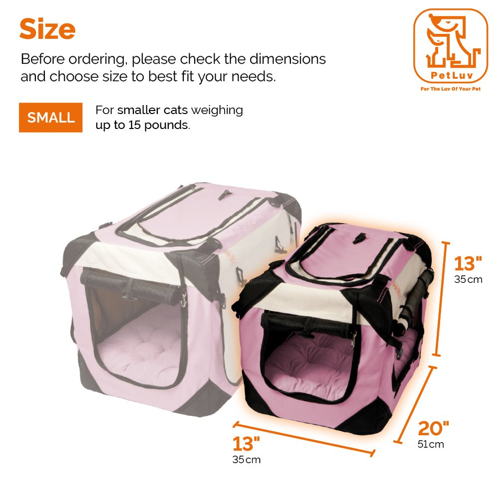PetLuv Soothing Happy Cat Premium Soft Sided Cat Carrier & Travel Crate - Locking Zippers, Plush Nap Pillow, 2X Interior Room, Airy Windows, Sunroof - Reduces Anxiety (20'' x 13'' x 13'')