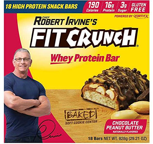 FITCRUNCH Snack Size Protein Bars | Designed by Robert Irvine | World's Only 6-Layer Baked Bar | Just 3g of Sugar & Soft Cake Core (18 Snack Size Bars) (Peanut Butter Cake Chocolate)